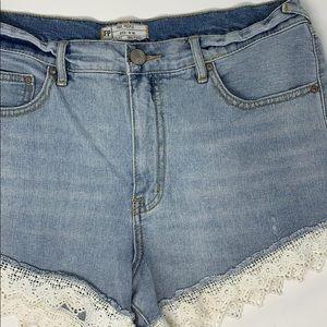 Free people women's denim crochet hem shorts